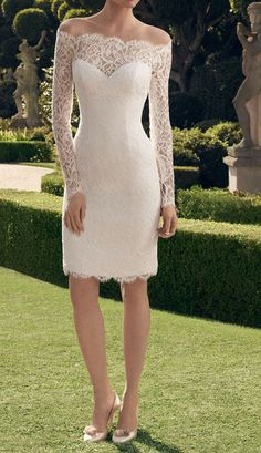 2014 New Short Wedding Dress White / Ivory Lace by Swarovski169