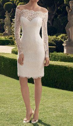 2014 New Short Wedding Dress White / Ivory Lace by Swarovski169