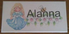 Cute little girl door plaque, personalised with your child's name. Handmade by Conscious Crafty living with neuralgia and bulging discs Bedroom Door Signs, Bedroom Doors, Personalized Plaques, Door Plaques, Childrens Gifts, Cute Little Girls, Kid Names, Kids Bedroom, Crafty