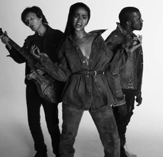 "Rihanna's amazing grungy denim look at ""FourFiveSeconds"" with Paul McCarthy and Kanye West"