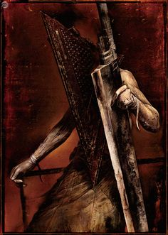 Pyramid Head, also known in Japan as the Red Triangle, is a nightmarish monster from the Silent Hill series. He is mainly featured in Silent Hill Silent Hill 2, Arte Horror, Horror Art, Pyramid Head, Red Pyramid, Minions, Evil Dead, Video Game Art, Video Games