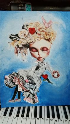 Inspired by custom Alice in Wonderland blythe doll. I painted this today.
