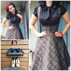 """""""Tuesday's outfits details- @heartofhaute top, @collectifclothing skirt, @baitfootwear shoes, @pinupgirlclothing bag, @ritasueclothing headscarf ❤️❤️❤️"""""""