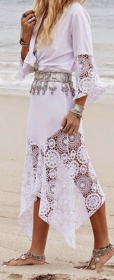 Ladies cutest and stylish long Lace dress and foot wear fashion inspiration for Hippie's