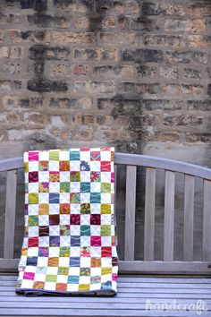 Lucky Penny Postage Stamp Quilt | Modern Handcraft. I love these colors!! And pattern!