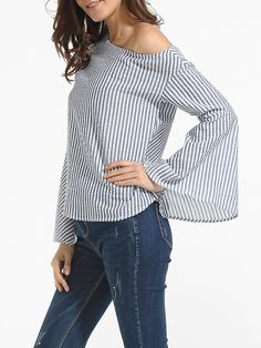 Mandarin Sleeve One Shoulder Cotton Striped Blouse Only $19.95 USD More info...
