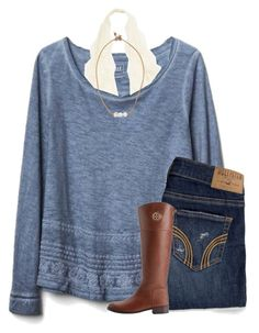 """ITS SNOWING!!!!❄"" by morganmestan ❤ liked on Polyvore featuring Gap, Hollister Co., Tory Burch and Lead"
