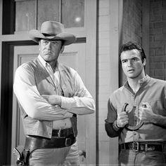 GUNSMOKE (CBS-TV) - Marshal Matt Dillon (James Arness) and halfbreed blacksmith Quint Asper (Burt Reynolds) - TV series.