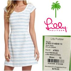 NWT Lilly Pulitzer Dress BRAND NEW with tags Lilly Dress. Cotton lace, top applied pearls accent neckline with invisible back zipper closure. Wrinkle Resistant Lurex Boucle Fabric in blue and white stripe 44% Cotton/33% Polyester/21% Rayon/2% Metallic {Posh transactions only! Fast shipments! No trades!} Lilly Pulitzer Dresses