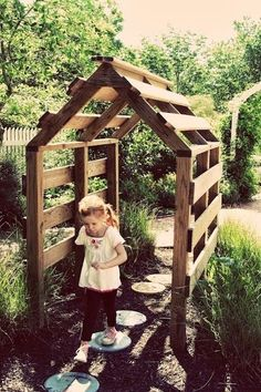 Could easily build this trellis from shipping pallets- a fun play area for kids AND a great space to grow beans and other vining veggies.