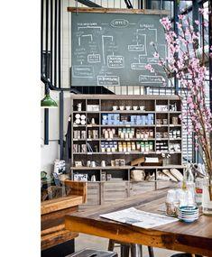 Warm Deco - great vintage feeling shelves and chalkboard