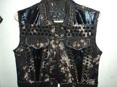 punk vest black denim bleached dyed studded by brinahblackstar, $100.00