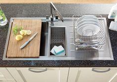 Lamona Windermere 1.5 Bowl Sink with Accessories and Lamona Chrome Sorico Monobloc Tap - Howdens