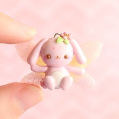 Hi everyone!  Here is another fairy animal creation! This time I decided to make a sweet little pink bunny  Again, the actual bunny is made out of polymer clay and the wings are made out of UV resin (no mold used)! These wings are more opaque than the last ones I showed you, and have a gradient from pink to yellow to purple  They are a bit hard to see here- I wish now that I had used a different background  Anyway, hope you like it! ✌ #polymerclay #polymer #clay #cute #kawai...
