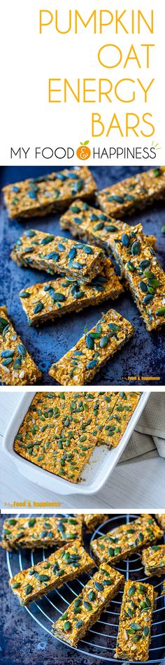 Simple Cinnamon Pumpkin oat energy bars recipe. Gluten-free and vegan, delicious and nutritious pumpkin bars you can easily make and enjoy as a healthy snack all week long!
