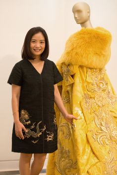 Designer Guo Pei at the Waterfall Mansion and Gallery with the dress famously worn by Rihanna in 2015. Photo: Julienne Schaer for China Institute