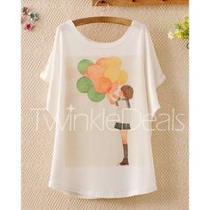 $7.72 Laconic Scoop Neck Balloon Print Batwing Sleeve Women's T-Shirt