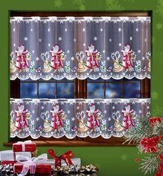 Záclony vitrážkové metrážové vánoční W-SANTA CLAUS