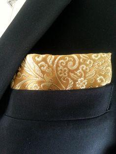 Golden Silk Brocade Pocket Square - Handcrafted by HandsomeJimmy on Etsy