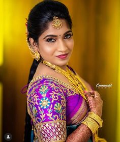 Exclusive Saree Blouse designs for every South Indian Bride!- Eventila - Exclusive Saree Blouse designs for every South Indian Bride! Wedding Saree Blouse Designs, Saree Blouse Neck Designs, Fancy Blouse Designs, Wedding Sarees, South Indian Blouse Designs, Mary Janes, Hand Work Blouse Design, Embroidery Neck Designs, Designer Blouse Patterns