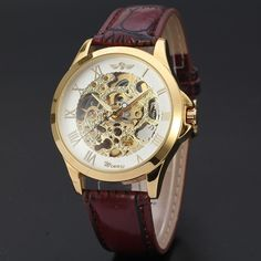 And Great Variety Of Designs And Colors Winner Dress Men Automatic Mechanical Watch Leather Strap Tachymetre Skeleton Dial Golden Bezel Cool Design Male Wristwatch Famous For High Quality Raw Materials Full Range Of Specifications And Sizes