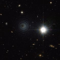 IRAS 23166+1655   LL Pegasi (AFGL 3068) No one is sure what the strange spiral structure is on the left, but it's likely related to a star in a binary star system entering the planetary nebula phase, when its outer atmosphere is ejected. Photo is from the Hubble Space Telescope.