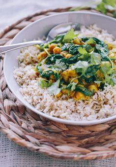 Braised Indian Chicken with Chickpeas & Spinach