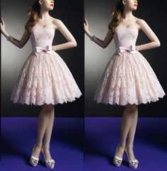 Sexy Elegant Short Pink Lace Evening Prom Dress by Perfectdresses, $119.00