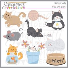 Kitty Cat Mouse Pet Yarn Clipart Commercial License Included by SanqunettiDesigns on Etsy https://www.etsy.com/listing/184323008/kitty-cat-mouse-pet-yarn-clipart