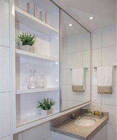 37 The Ways to Add Plants in the Bathroom Trap – homedecorsdesign Bathroom Design Small, Bathroom Interior Design, Modern Bathroom, Small Toilet, White Vanity, Bathroom Floor Tiles, Shower Remodel, Deco Design, Luxury Kitchens