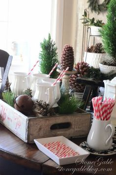 I'm seeing these crate and trough trays everywhere-- need to find one for myself!  DECK THE HALLS HOUSE TOUR - StoneGable