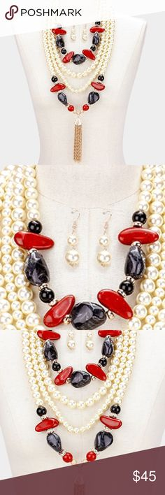 "💥flash sale 💥 natural stone & pearl necklace Color : Black, Cream, Gold, Red • Theme : Tassel  • Necklace Size : 23"" + 3"" L • Decor Size : 11"" L • Earrings Size : 2"" L • Multi-strand natural stone & pearl bib necklace with tassel Jewelry Necklaces"