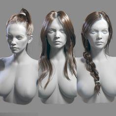 Hair Studies, mike fudge on ArtStation - breakdown info in comments from Mike https://www.artstation.com/artwork/dW2NA