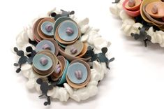 """Yuko Fujita hese are from the exhibition""""Surface connection"""" with Amy brooches( silicon/clay/silver/mild steel)"""