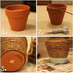 Rope-Wrapped Pots - House by Hoff Rope Crafts, Diy Home Crafts, Crafts To Do, Sisal, How To Make Rope, Rope Basket, Painted Pots, Diy Planters, Terracotta Pots