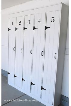Chalkboard Blue: How to Build Pottery Barn Lockers. I would love something like this in our garage or on the back porch
