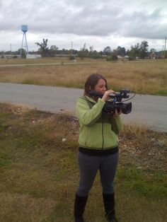 Emily Mowers shooting video in Smithville for a promo.