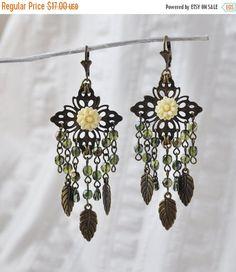 Christmas SALE Gipsy Long Cluster Dangle Earrings, tribal jewelry, Long Dangle, OOAK, Gypsy earrings, Czech glass, Bohemian glass