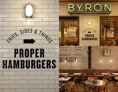 Byron Burger has burger joints spread across London. Byron is proof that a chain restaurant doesn't have to serve substandard rubbish. Burger Restaurant, Deco Restaurant, Burger Bar, Restaurant Branding, Restaurant Design, Burger Branding, Burger Food, Byron Hamburgers, Byron Burger