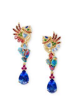 Temple St. Clair 'Phoenix Chicks' earrings with tanzanite, black opal, tourmaline, moonstone, tsavorite and sapphire.