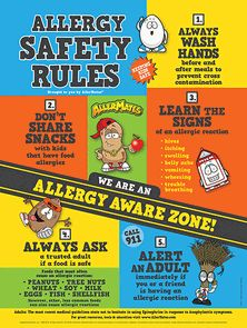 AllerMates Allergy Awareness Poster 18 x 24 great for Classrooms, doctors offices and homes!