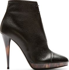 Burberry Prorsum Black Leather Horn Heel Boots | FW 2014 | cynthia reccord