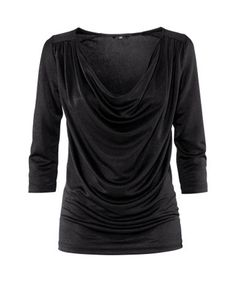 Black Modal Shirt with Cowl Neck and Cropped Sleeves