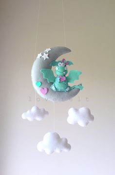 Baby mobile - dragon mobile - baby mobile dragon - fairytale mobile - moon mobile by lovefeltmobiles on Etsy https://www.etsy.com/listing/469179477/baby-mobile-dragon-mobile-baby-mobile