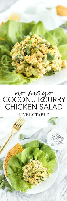 Mix up your lunchtime routine with this mayo-free coconut curry chicken salad! It's the perfect light and flavorful, high protein, lower sugar lunch made with real, simple ingredients that you can meal prep on the weekend. (#gluten-free) #sponsored #dailysiggis #lunch #chickensalad #mayofree #curry #coconut #mealprep