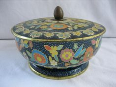 Vintage Confections Pedestal Tin Canister - England - Blue Impressed and Flowers