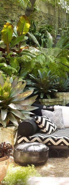 Outdoor Living | Great Backyards Tropical Garden Style Jungalow garden gypsy garden boho garden jungalow style bohemian garden