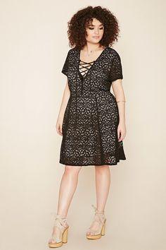FOREVER 21+ Plus Size Crochet Lace-Up Dress