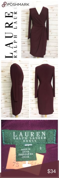 Plum V Neck Dress by Ralph Lauren Size 8 Ralph Lauren plum long sleeve V neck gathered dress ~~ Bust 36 ~~ waist 32 ~~ hips 36 ~~ length 40 ~~ poly / spandex blend ~~ dry cleaned ~~ excellent condition, worn once ~~ No trades ~~ #223 Lauren Ralph Lauren Dresses Midi