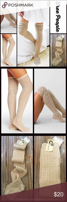 ❗️1-HOUR SALE❗️FREE PEOPLE Tall SOCKS Thigh Highs FREE PEOPLE Tall Over The Knee Boot Socks Thigh Highs   NEW WITH TAGS   * Super soft knit fabric w/allover subtle lacy pointelle knit pattern; Lightweight for layering options  * Over the knee & extra long thigh high length  * Stretch-to-fit style; Tagged one size fits most   * Approx. Fits Shoe sizes 5-10 Fabric: 89% Cotton 9% nylon, 2% Spandex ; Machine wash Color: Oatmeal Heather (a neutral hue) Item:  No Trades ✅ Bundle Discounts✅ Free…